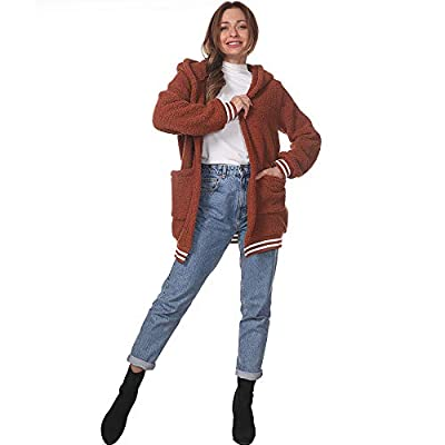 Women Fuzzy Fleece Sherpa Hooded Jacket Coat Solid Faux Fur Open Front Cardigans Oversize Loose Outwear Tops with Pocket at Women's Coats Shop