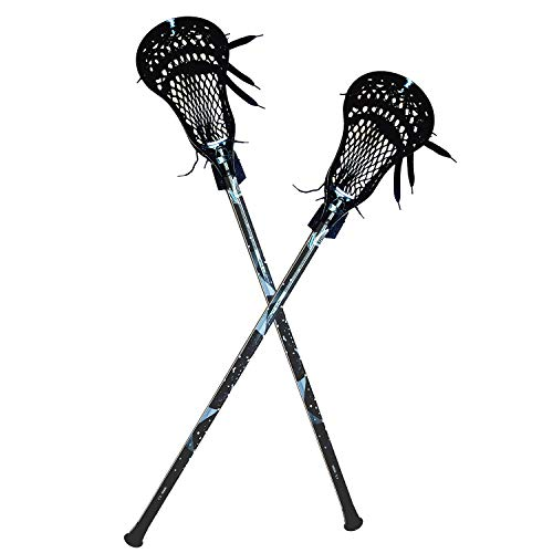 CAKLOR Lacrosse Complete Attack/Midfield Stick with Shaft & Head Mens-2 Sticks,Black