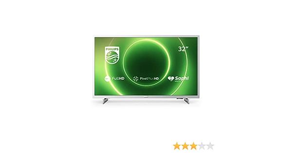Philips 32PFS6855/12 Televisor de 32 Pulgadas (Fulll HD TV, Pixel Plus HD, Saphi Smart TV, Altavoces de Rango Completo, 3 x HDMI, 2 x USB, Óptimo para Gaming), Color Plata Claro (Modelo