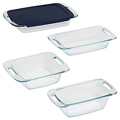 Pyrex 5-Piece Easy Grab Bakeware Set, Oven and Microwave Safe with Blue Lid