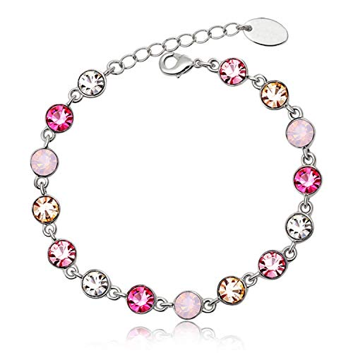 (Juliani 18k-Gold-Plated Hypoallergenic Tennis Bracelet - White/Pink/Topaz/Ametist Colors 5 Carat Austrian Crystals | Jewelry Women Kids | Girls Teens)
