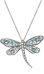 """Sterling Silver and Colored Crystal Dragonfly Pendant Necklace, 18"""""""