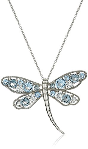 Sterling Silver Aquamarine Crystal, Sapphire Crystal and Light Azure Crystal Dragonfly Pendant Necklace, 18