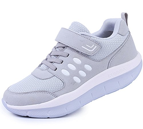 DADAWEN Women's Athletic Shoes Casual Platform Walking Sneakers Breathable Running Shoes Gray US Size 8