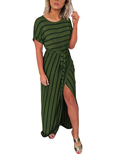 Lovezesent Women's Casual Loose Striped Printed Long Beach Dress with Waist Belt Sexy Cotton Wrap Maxi Dresses Floor Length Green Large