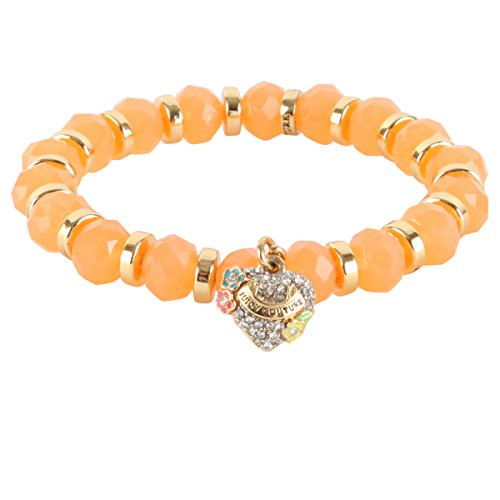 Heart Juicy Couture Girls - Juicy Couture Stretch Beaded Friendship Pave Heart Bracelet- Orange