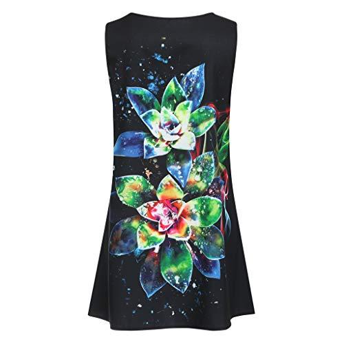 EOWEO Dress for Women Elegant,2019d Women Summer Sleveless Boho Print Casual Beach Vintage Fashion Short Mini Dress(Medium,Black) by EOWEO (Image #3)