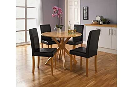 Montego Round Oak Dining Table Amazon Co Uk Kitchen Home
