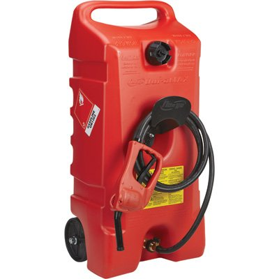 DuraMax Flo n' Go LE Fluid Transfer Pump and 14-Gallon Rolling Gas Can (Portable Boat Fuel Tank)