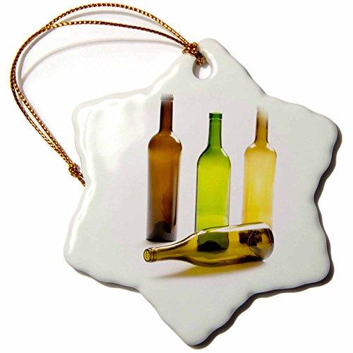 3dRose Danita Delimont - Matt Freedman - Beverages - Four empty glass wine bottles on white background. - 3 inch Snowflake Porcelain Ornament (orn_189044_1)