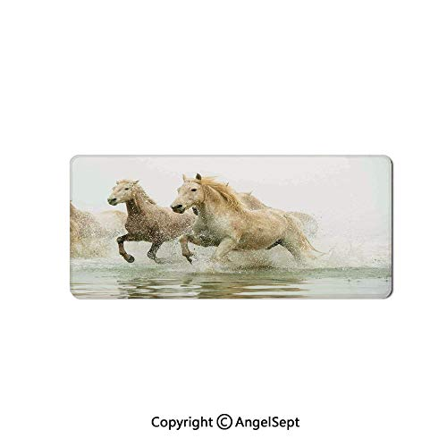 Large Gaming Mouse Pad with Durable Stitched Edges, Non-Slip Rubber Base, Mouse Mat for Office/Computer/Laptop-Animal Decor,Camargue Horses in The Water Ancient Oldest Breed in - Fabric Sout