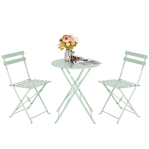 Marble Field Patio 3-Piece Folding Bistro Furniture Set, Outdoor Balcony Table and Chairs Sets, Light Green