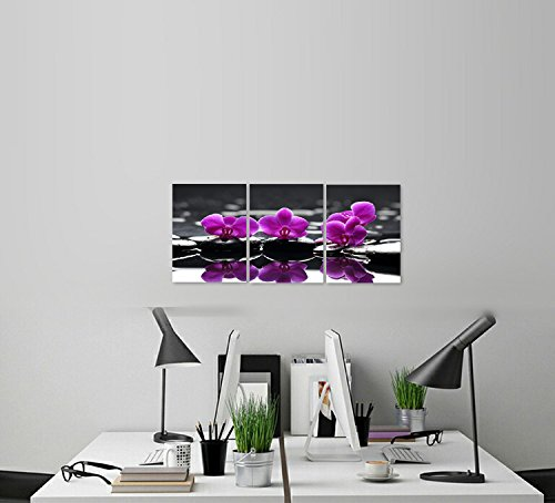 Canvas Wall Art Painting Modern Giclee Print Still Life Artwork Picture for Bathroom Decor Purple Blooming Orchid Flower on Black Spa Zen Stone (Small Size 12x16inchx3pcs)