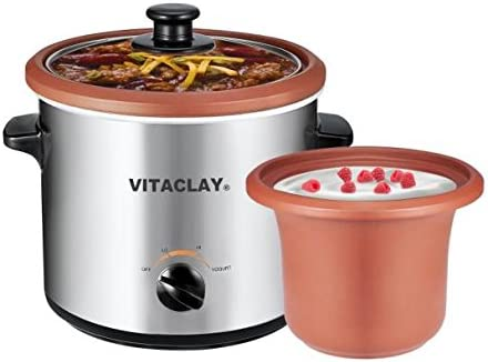 clay pot yogurt maker VitaClay VS2-2C 2-in-2 Yogurt Maker and Personal Slow Cooker in Clay,  Stainless Steel by VitaClay
