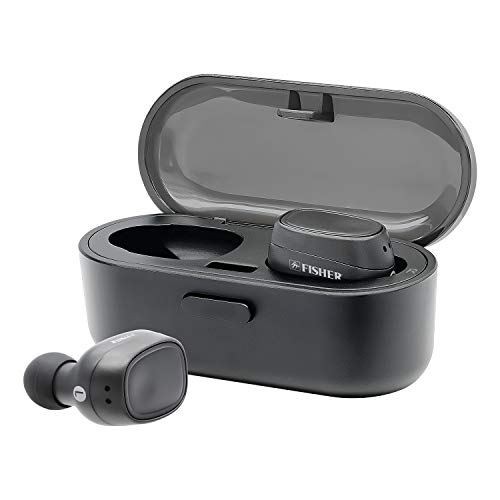 Fisher True Wireless Earbuds and Charging Case, Earphones with Auto Pairing and Built-in Mic ()