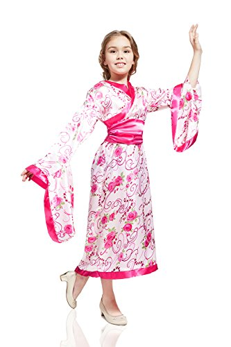 Kids Girls Asian Oriental Princess Dancer Geisha Lady Outfit Costume & Dress Up (8-11 years, Pink) (Oriental Asian Fabric)