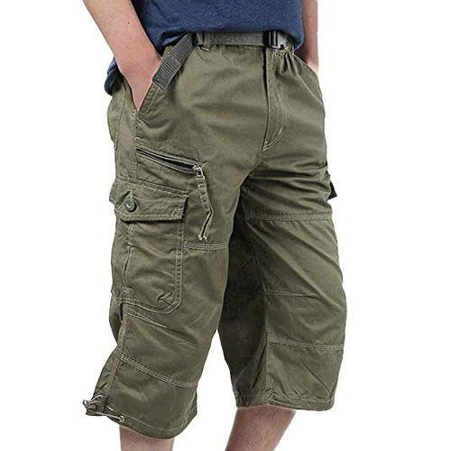 (GREFER-Mens Camo Cargo Shorts - Baggy Multi-Pocket Cropped Pants - Stretch Elastic Waist Overalls - Plus Size Work Pants)