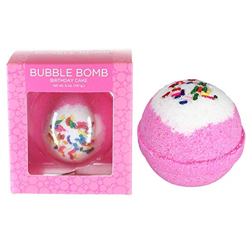 Birthday Cake BUBBLE Bath Bomb in Gift Box. USA Made Large Lush Spa Fizzy Handmade Gift Idea for Her, Wife, Girlfriend - Releases Pink Color, Cupcake Scent, and Bubbles in Bath - Dry Skin Moisturizing