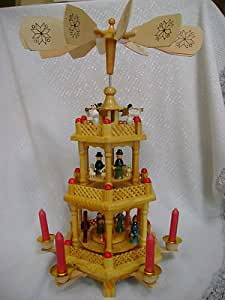 Amazon Com All Wooden Christmas Candle 3 Tier Carousel