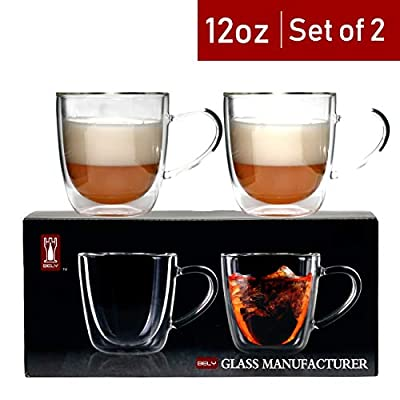 Bely Strong Double Wall Insulated Glass Coffee Mugs/Tea Cups With Handle Set of 2,Clear,12-Ounces