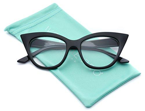 Super Cat Eye Clear Lens Glasses Vintage Inspired Mod Fashion Eyewear (Black)