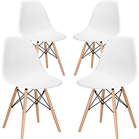 EdgeMod Eames Style Molded Plastic Dining Chair (Set of 4) - New Seat Height 18.5 Inches (Plastic Chairs Set Of 4)