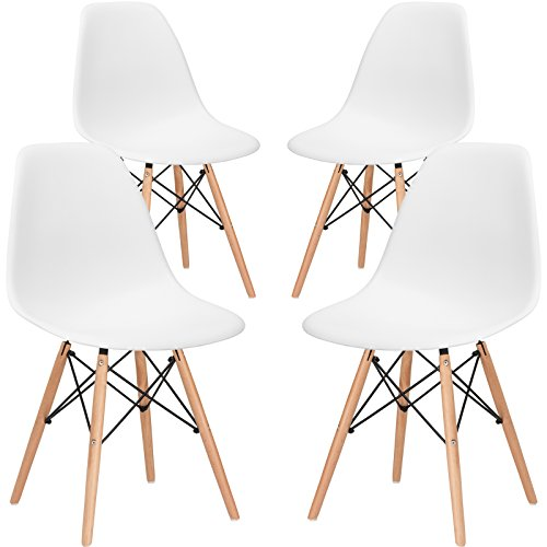 EdgeMod Eames Style Molded Plastic Dining Chair (Set of 4) - New Seat Height 18.5 Inches