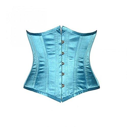 Turquoise Satin Gothic Burlesque Bustier Waist Training Underbust Corset Costume
