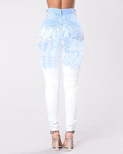 Jeans Stretch A Jeggings Push Leggings Pantaloni Immagine Up Boyfriend Strappati Alta Come Guiran Skinny Vita Donna FqAgEg
