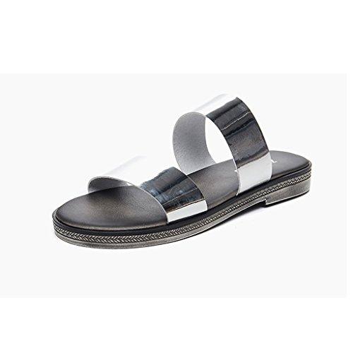 CN36 UK4 estate all'aperto femminile Pantofole a Silver piatto EU36 Colore dimensioni moda spiaggia Sandali da Silver fondo qU6ZBS