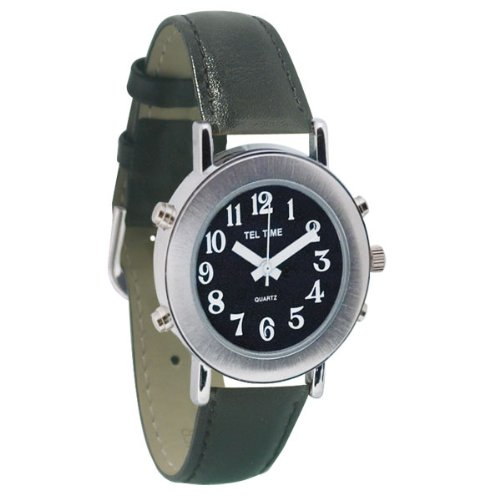 Tel-Time Ladies Chrome Talking Watch - Black Face, Leather Band (Leather Quartz White)
