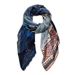 Desigual Foul_Patch Night Bright Sciarpa di Moda, Blue, U Donna 14