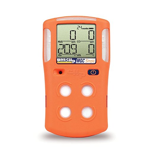Gas Clip Technologies MGC-S 4 Multi Gas Clip 4-Gas Monitor (H2S,O2,CO, and LEL), 2 Years Run Time