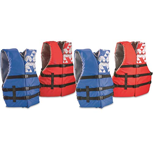 Guide Gear Type III Adult Universal Life Vests, 4 Pack, Red/Blue, Universal ()
