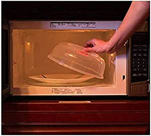 Microsafe Plate Cover Clear Microwave Plate Cover BPA Free for Food Protective Dish Bowl 10.5inch Cooking Dinner Deep Dome Eco Friendly Plastic Large Safe Pot Oven Collapsible Splatter Guard with Steam Large Deep Tall Lid Plastic &eBook by STSSLTD