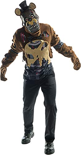 Rubie's Men's Five Nights Deluxe Nightmare Freddy Costume, As Shown, Small]()