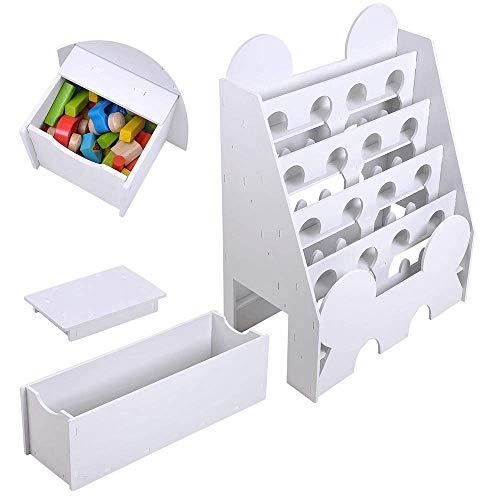 (LeeMas Inc Kids Comic Book Shelf 5-Tier Storage Rack Organizer Bookcase Display Holder w/Sittable Pull-Out Drawer White)