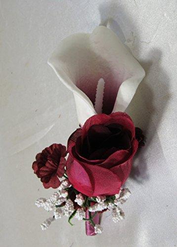 Burgundy-Ivory-White-Rose-Lily-Cascading-Bridal-Wedding-Bouquet-Boutonniere
