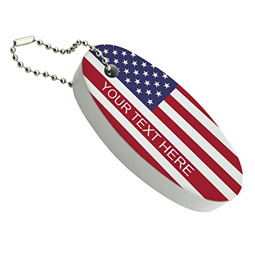 (Graphics and More American USA Flag Personalized Custom Floating Foam Keychain Fishing Boat Buoy Key Float)