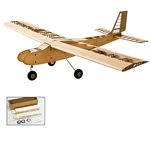 Electric Powered Airplanes - DW Hobby 2018 Upgrade RC Balsa Wood Radio Remote Controlled Electric& Gas Powered Aeroplane Laser Cut Balsa Training Aircraft Wingspan 1550mm T-40 Building Kit for Adults (T4001)
