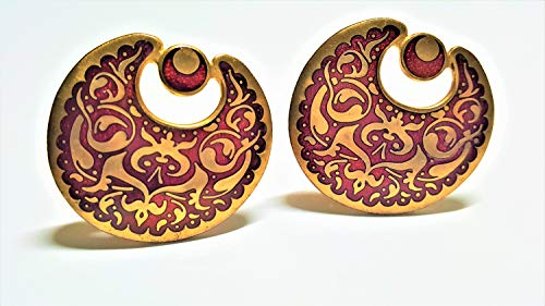 - Door Knocker Cloisonne Clip On Earrings MMA Signed Red & Gold Enamel, Statement Designer Earrings, Vintage Jewelry, Anniversary Gift