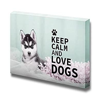 Canvas Wrap Wall Art - Keep Calm and Love Dogs | Modern Wall Art Stretched Canvas Prints Ready to Hang - 24