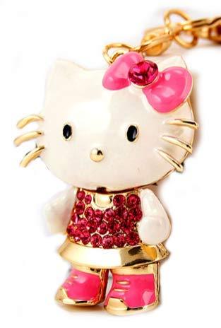 Beautiful 3D Luxury PINK Hello Kitty Figure Crystal Rhinestone Keychain Purse Clipper Chain