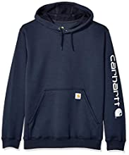 Carhartt Men's Midweight Sleeve Logo Hooded Sweatshirt (Regular and Big & Tall Sizes), New Navy, X-Large
