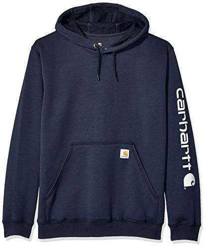 (Carhartt Men's Midweight Sleeve Logo Hooded Sweatshirt,New Navy,Large)