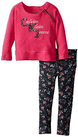 Calvin Klein Little Girls' Top with Printed Pants 4-6X, Pink, 6X