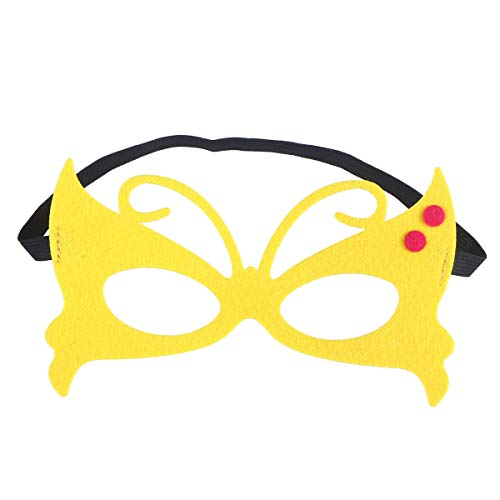 BESTOYARD Butterfly Mask Animal Half-face Mask Performance Mask Cosplay Supply for Children Kids Kindergarten (Yellow) -