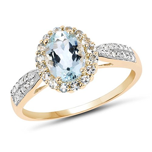 Genuine Oval Aquamarine and Aquamarine Ring in 10k Yellow Gold - Size 7.00 (Gold Ring 10ky)