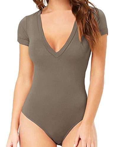 MANGOPOP Womens Modal V Neck Short Sleeve Bodysuit Jumpsuit (Tan, Small)