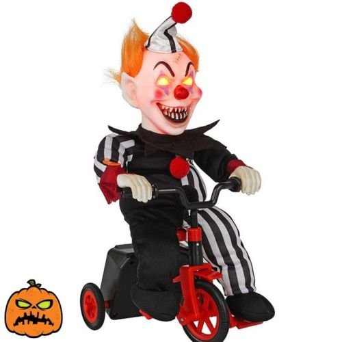 Animated Scary Clown (Halloween Animated Clown On Tricycle Decoration Scary Ghoul Home Party Decor)